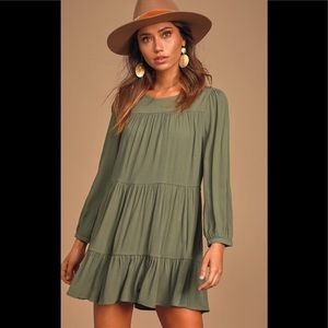 Lulu's Full Of Heart Olive Tiered Swing Dress M